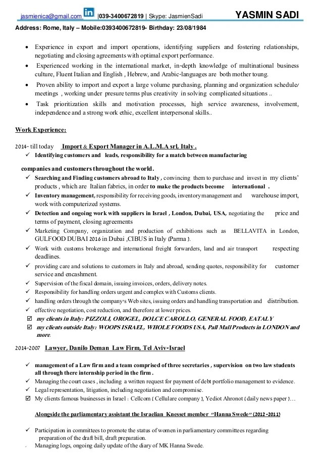 Export Specialist Sample Resume jobtemplatepro - Import Export Clerk Sample Resume