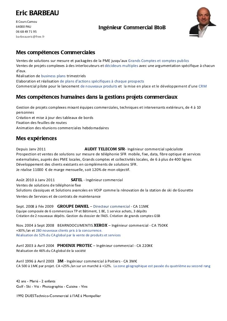 cv ingenieur commercial grands comptes