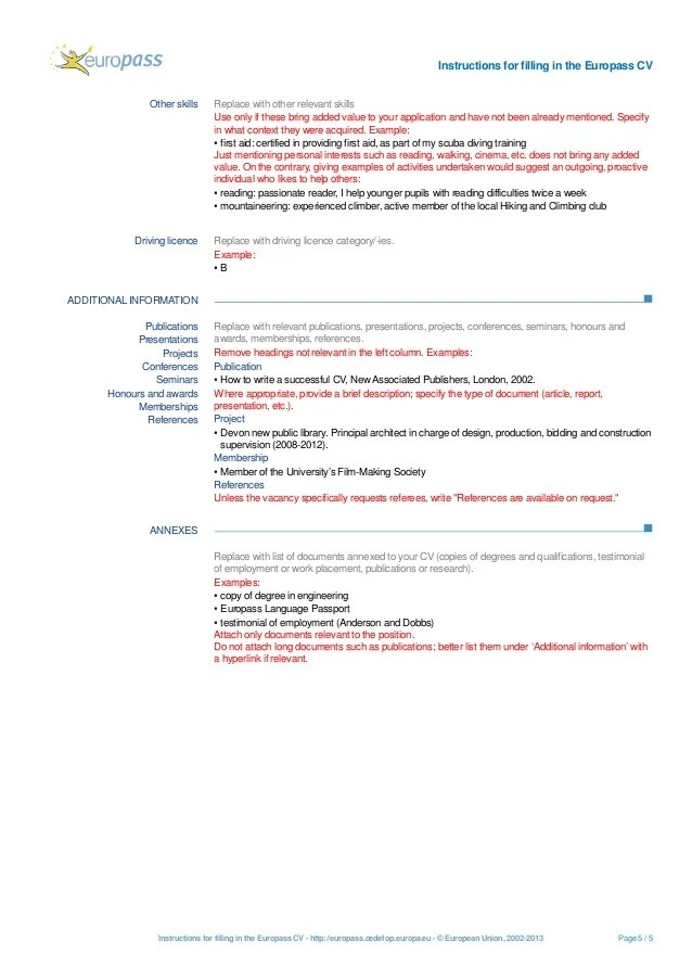 resume instructions