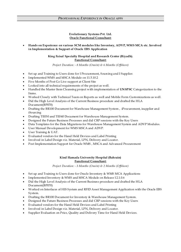 oracle functional consultant resume - Onwebioinnovate - oracle resume sample