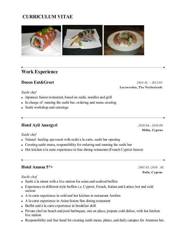 sample chef resumes - Gottayotti