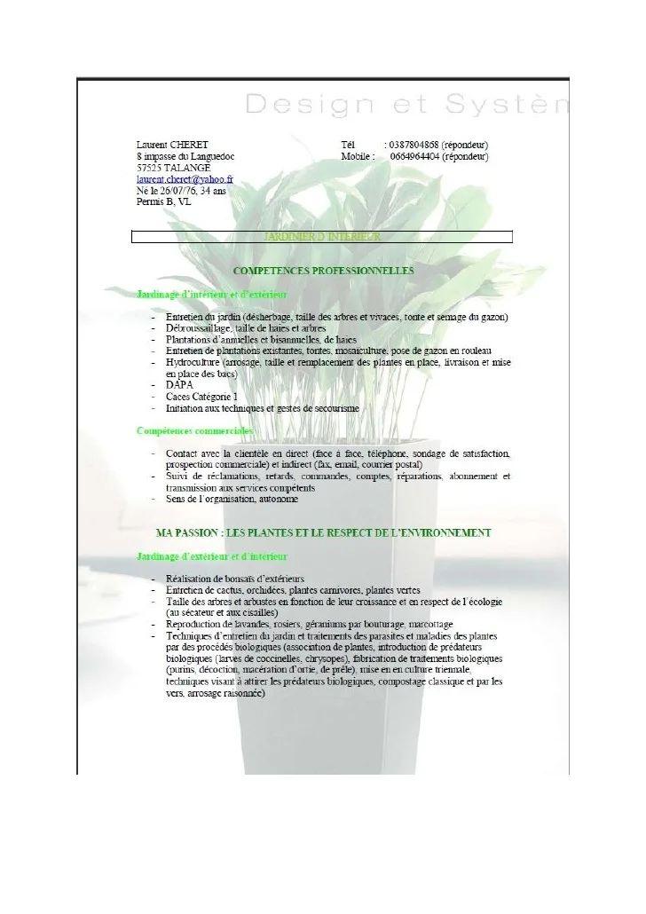 exemple cv agent d'entretien espace vert