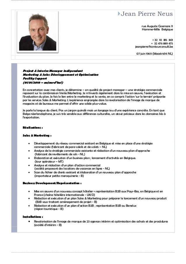 cv ingenieur commercial avec photo