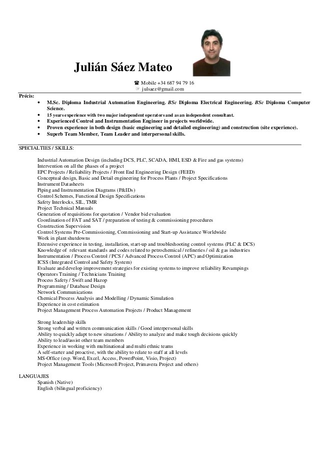 industrial automation resume sample
