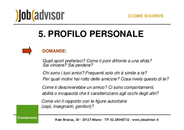 profilo personale cv esempi