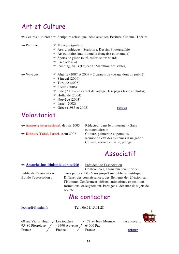 cv centre interet ecriture