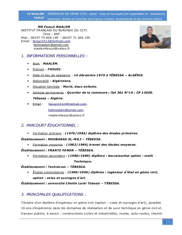 exemple cv ingenieur genie civil algerie pdf