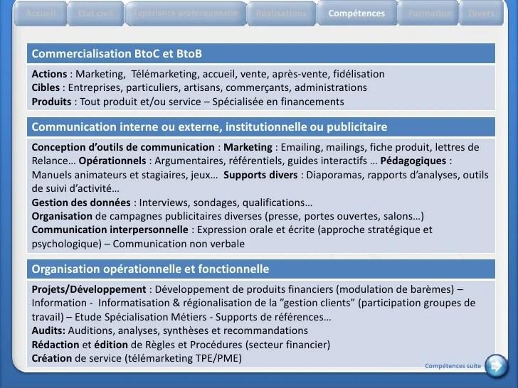 competences cv commercial btob