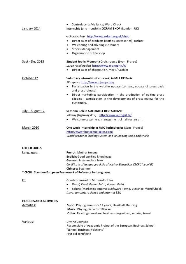 University Student Resume Sample Template Monsterca Cv Mathilde Petit Resume