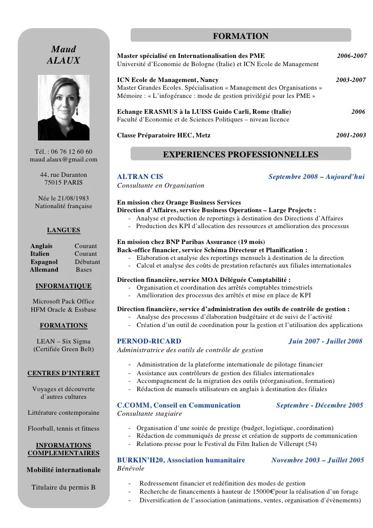 cv assistante responsable administratif et financier