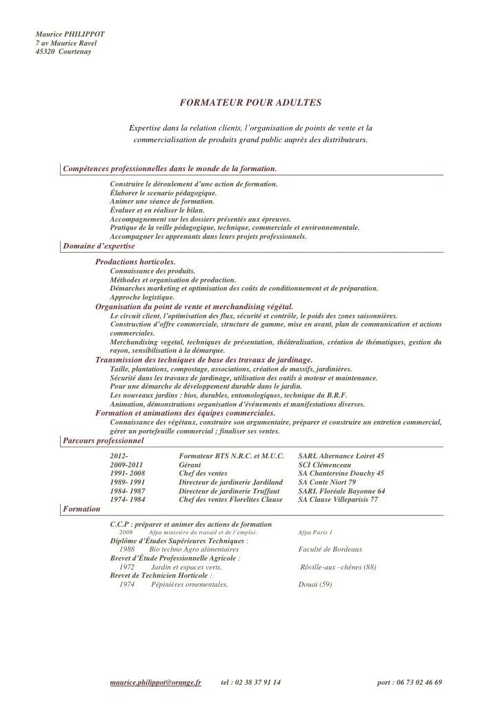 competences cv formateur pour adulte
