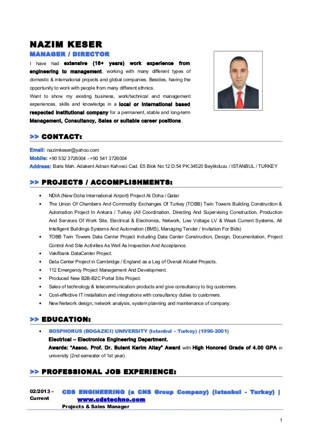 cv in english management