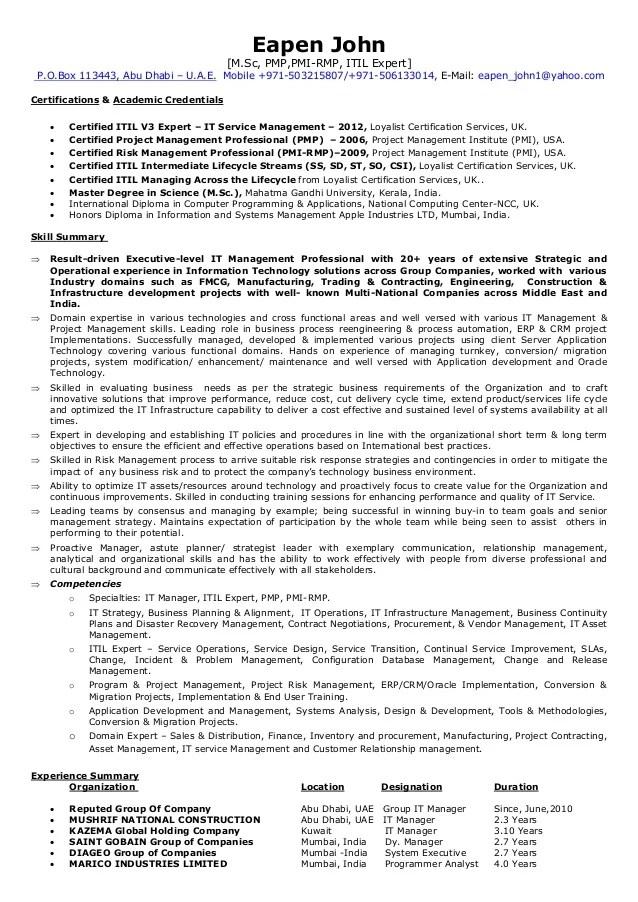 itil resumes - Onwebioinnovate - itil practitioner sample resume