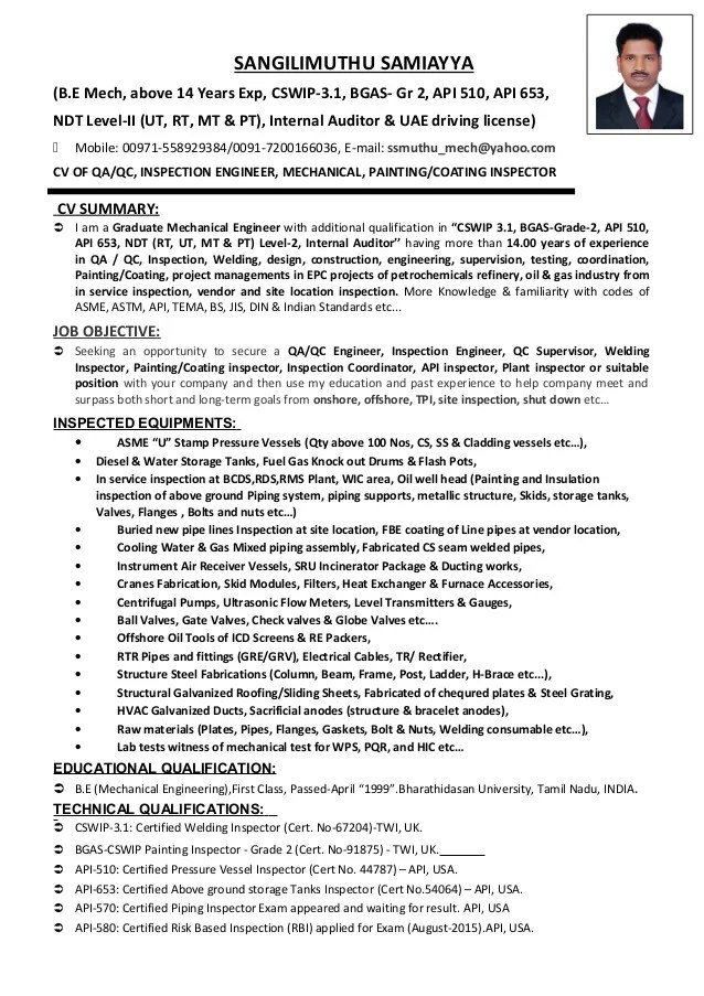 sample resume quality control civil engineer