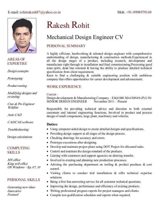design engineer cv - Goalgoodwinmetals - design engineer resume