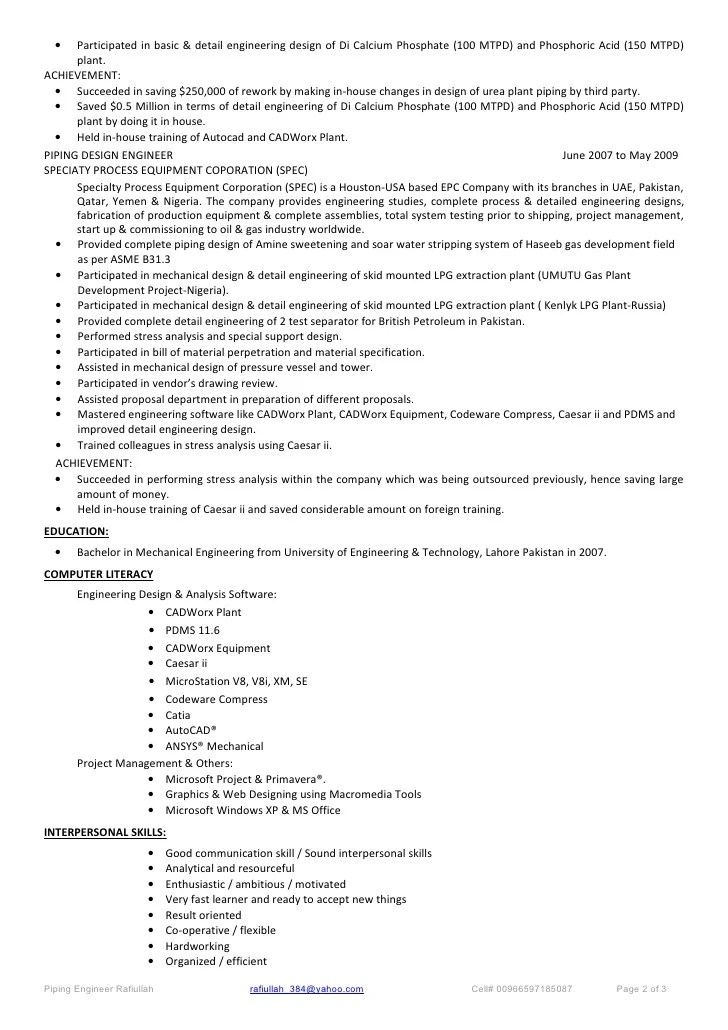 piping engineer resumes - Boatjeremyeaton - piping field engineer sample resume