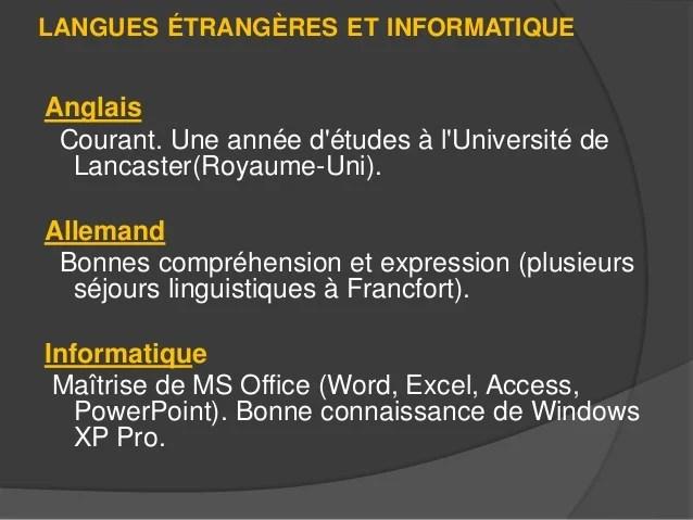 cv langues etrangeres et informatique