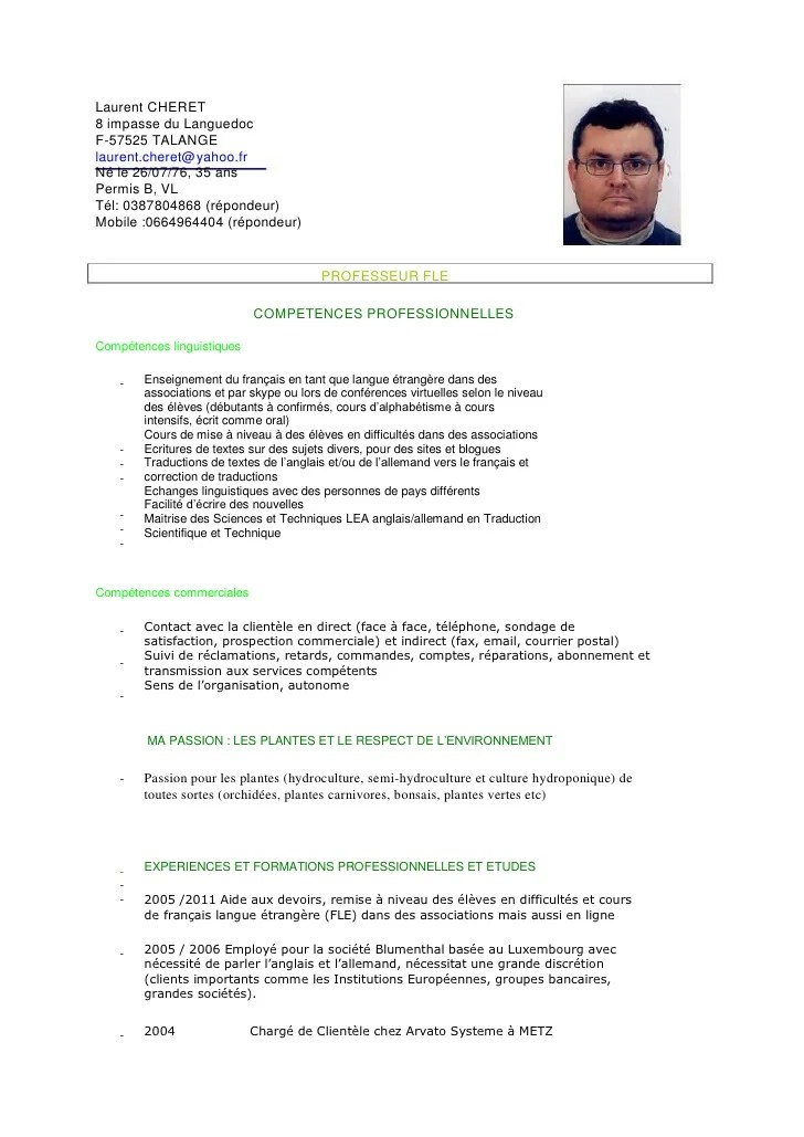 competences cv prof