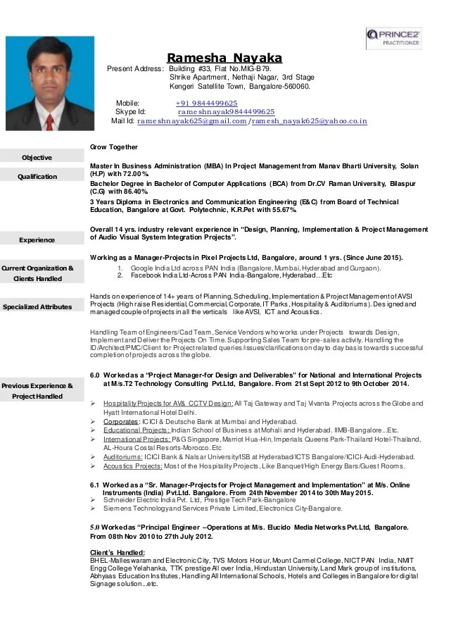 cv for project manager for stage