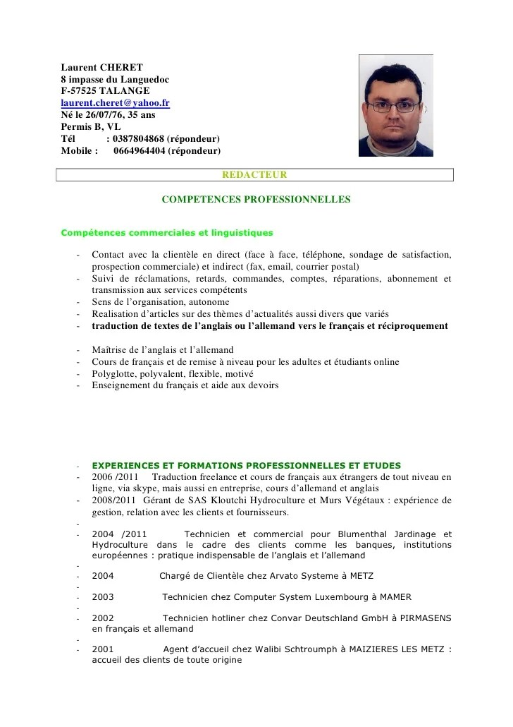 traduction francais anglais cv