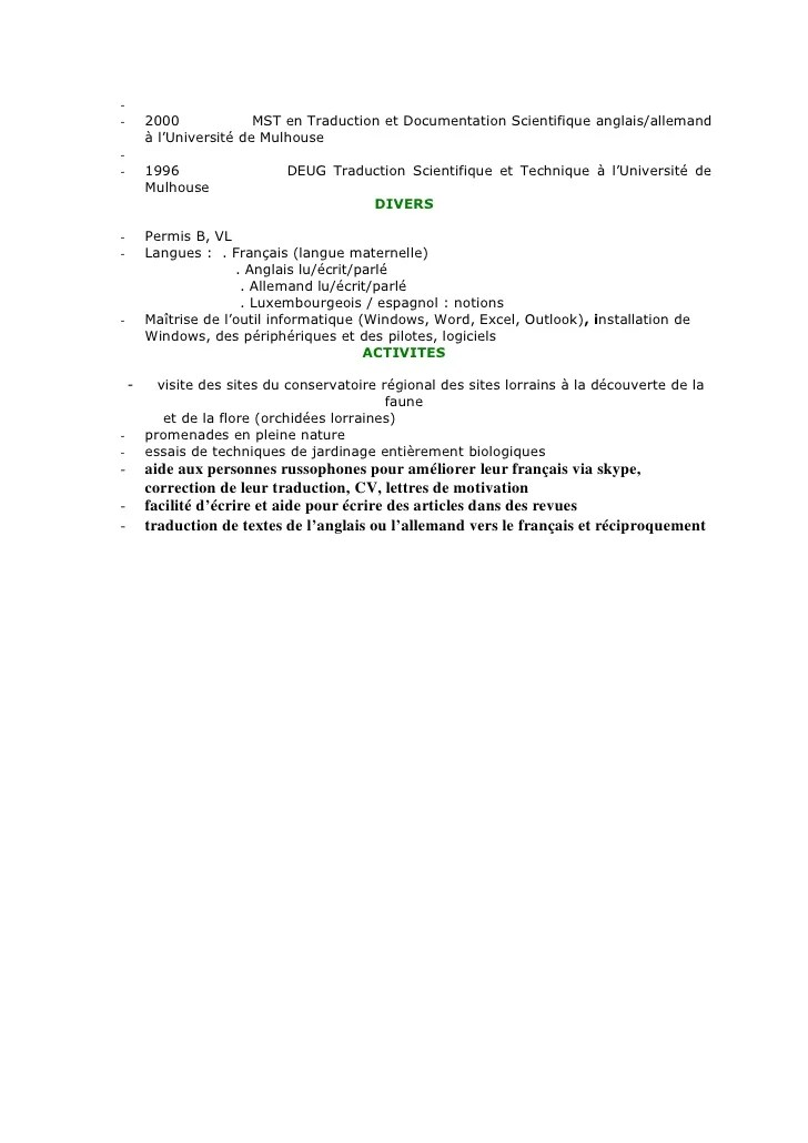 cv anglais documentation technique informatique