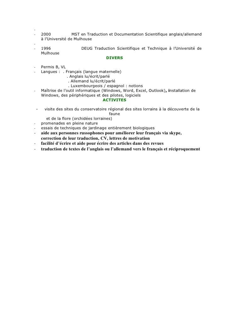 cv anglais documentation technique informatique