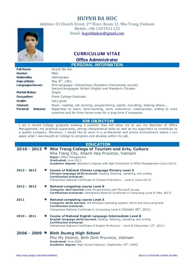 Resume Sample For Fresh Graduate Student BNZY Resume Sample For Fresh ...