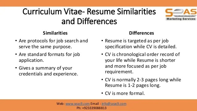 what is the difference between resume and curriculum vitae - Into