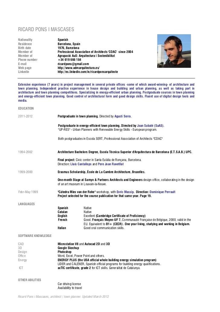 Format Curriculum Vitae En Francais Cv Templates And Guidelines Europass Cv Ricard Pons English