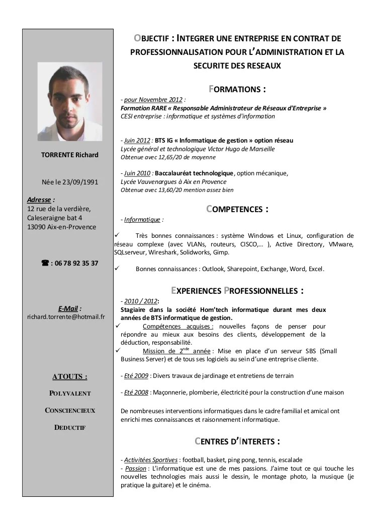 cv administrateur informatique