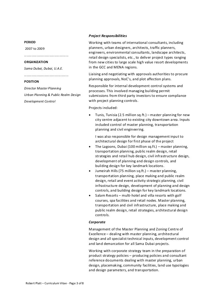 cv international anglais urban planning