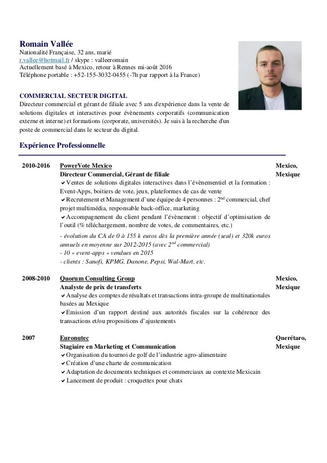 exemple de cv commercial digital