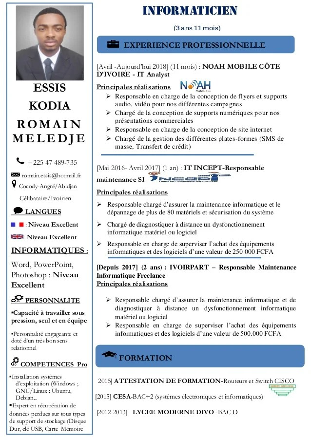 responsable informatique cv
