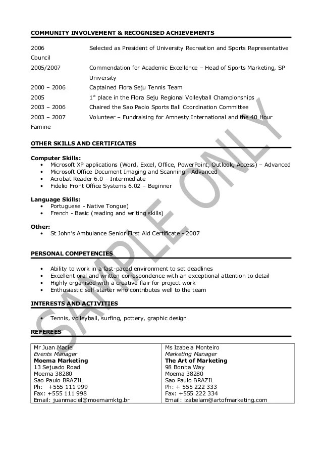 sports cv example - Intoanysearch