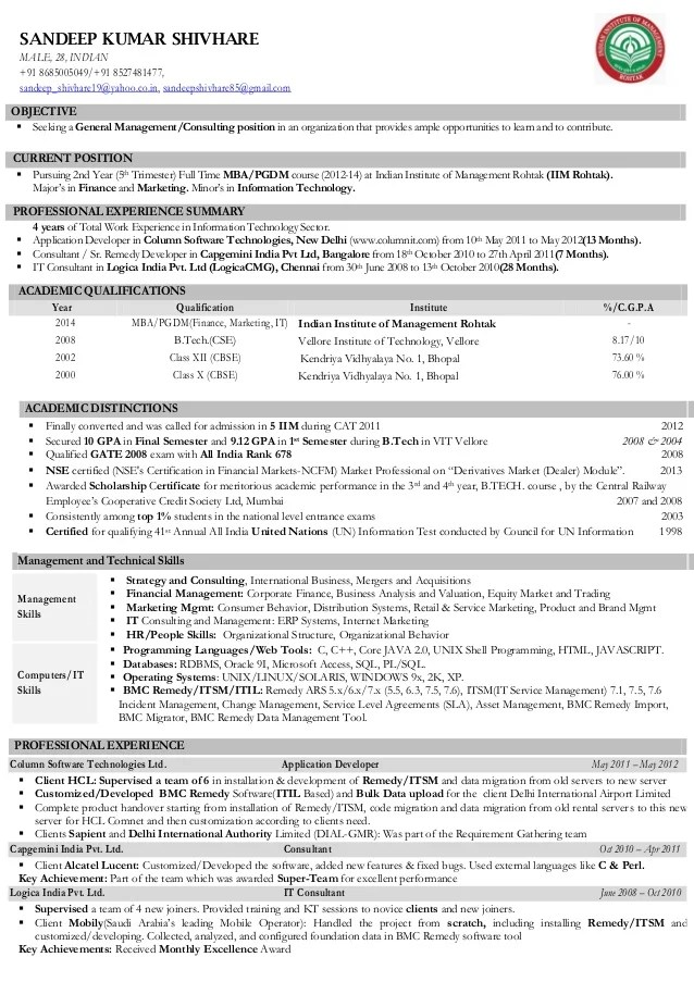 Resume Format For Word Free Resume Downloads Cv Sandeep Kumarshivhare Iim Rohtak Consulting