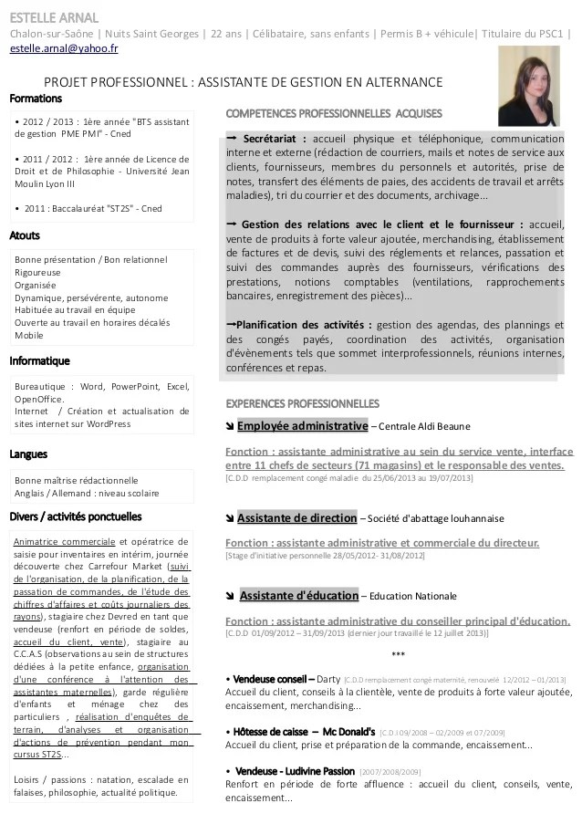 cv pour assistante de direction
