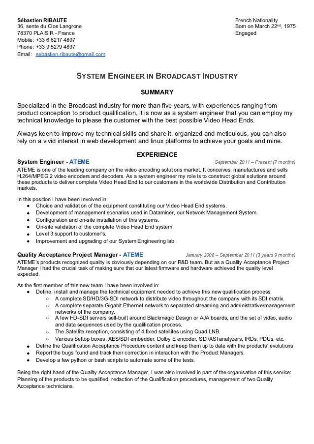 sample resume broadcast engineer pics photos systems engineer resume example page 1 broadcast journalist resume - Broadcasting Engineer Resume