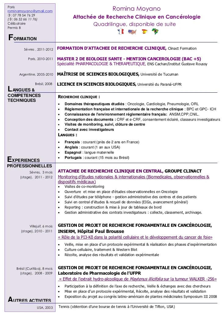 model cv attache de recherche clinique