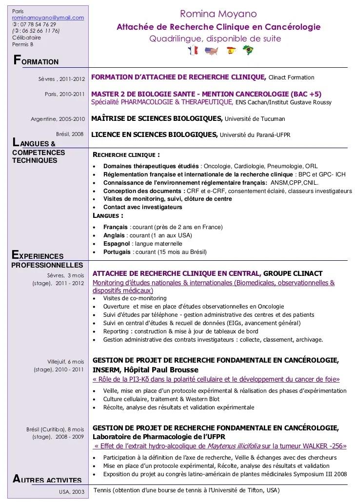 cv attache de recherche clinique en anglais