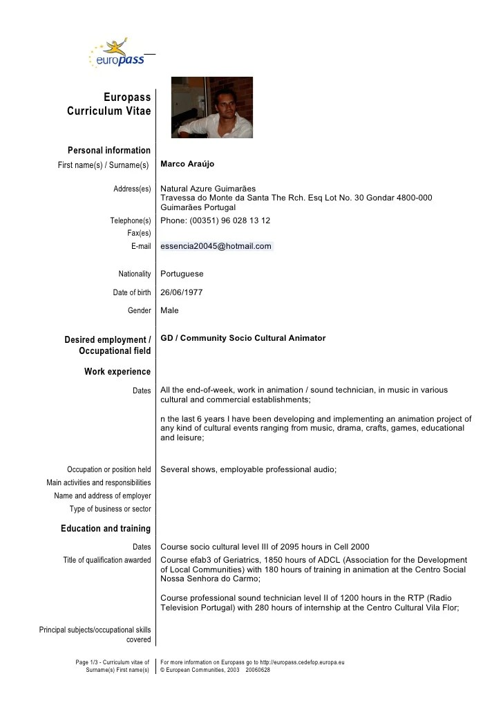 Cv Templates And Guidelines Europass Cv Template En Gb Marco
