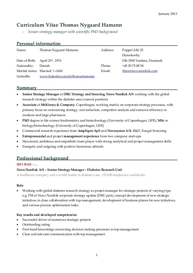 A Sample Good Resume Sample Resume Youtube Cv Thomas Nygaard Hamann 2013