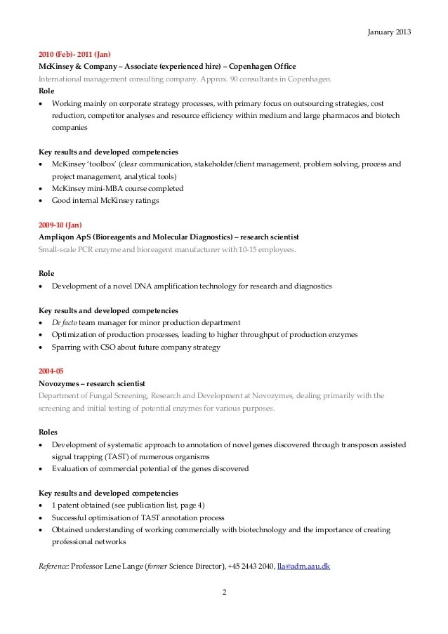 Management Consulting Resume What Is Management Consulting Caseinterview Cv Thomas Nygaard Hamann 2013