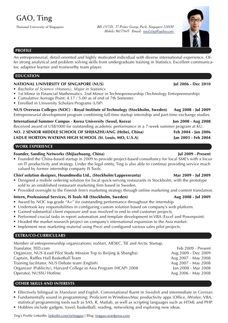 Resume For Entrepreneurs Examples  Template