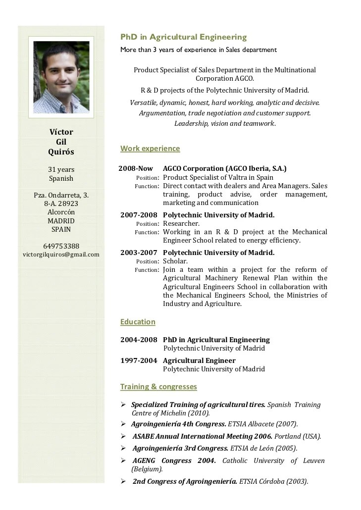 cv resume in english