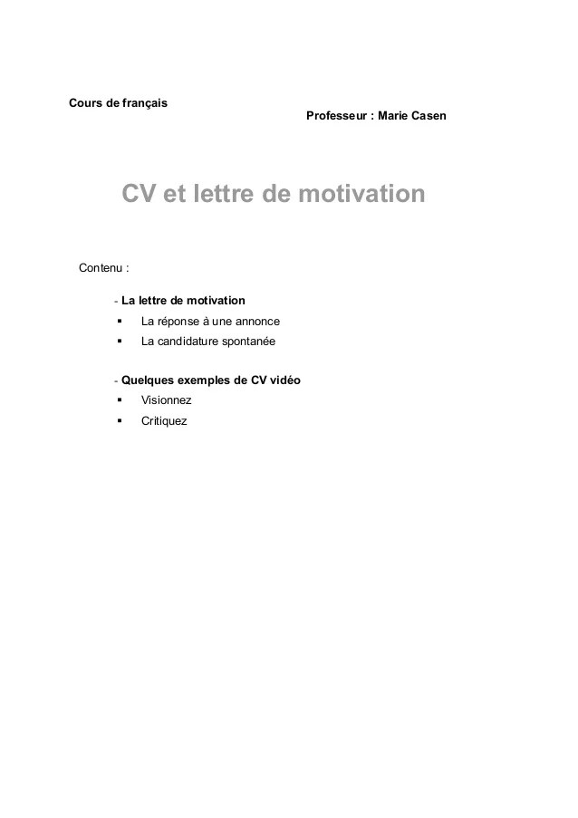 agrafer cv et lettre de motivation
