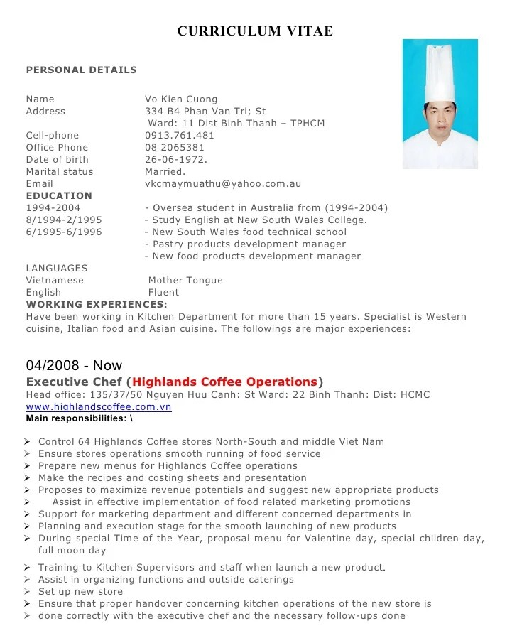 cook resume sample australia