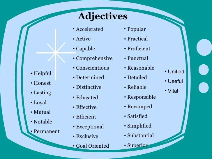 Good resume words to describe yourself - words to describe yourself on a resume
