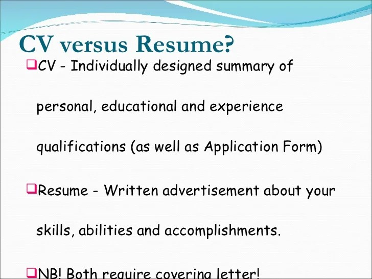 cv versus resume example
