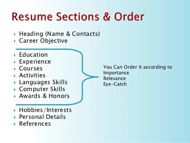 resume of hobbies