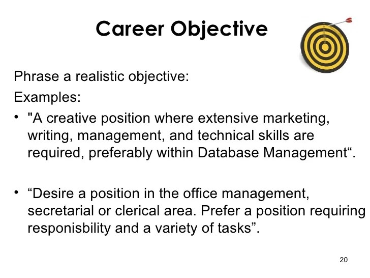 resume writing objective - Canreklonec - examples of career objectives